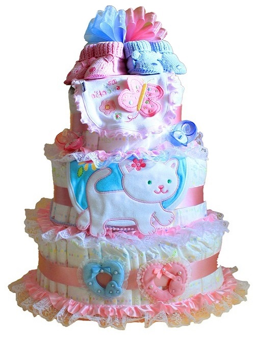 Cake of diapers
